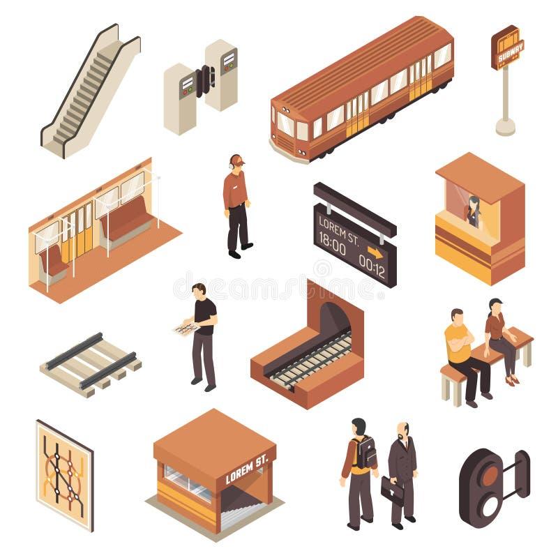 Grupo de elementos isométrico da estação de metro do metro ilustração do vetor