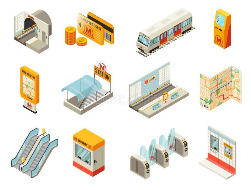 Grupo de elementos isométrico da estação de metro ilustração do vetor