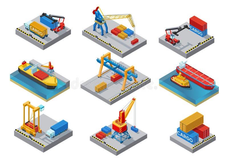 Grupo de elementos isométrico do porto marítimo ilustração do vetor