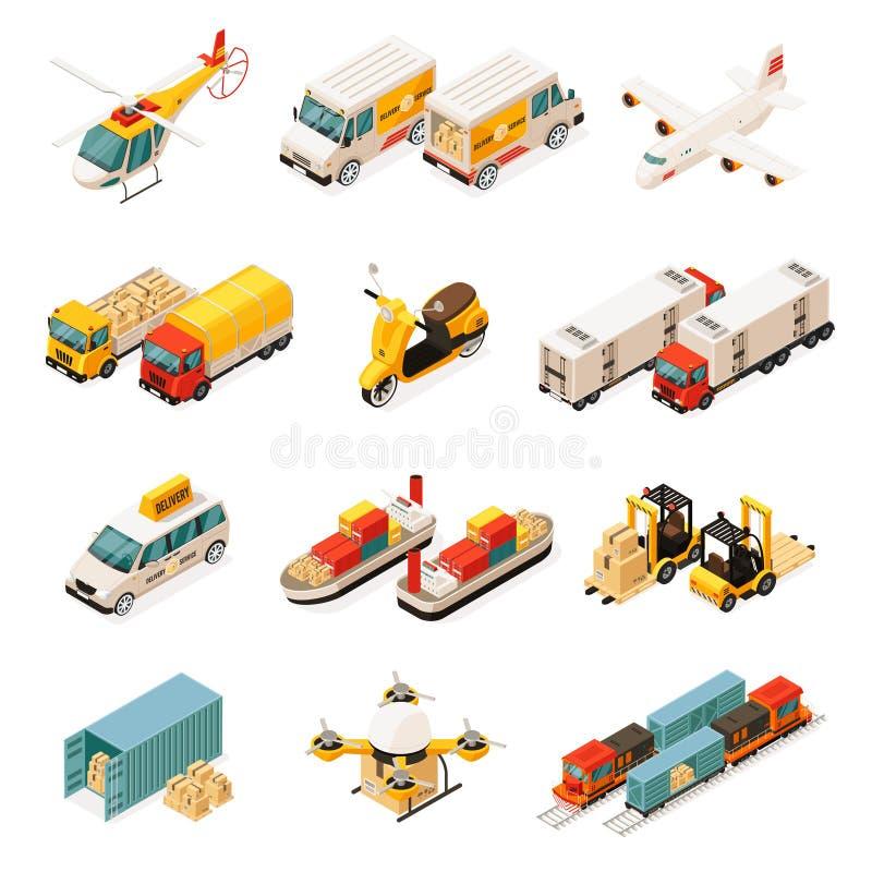 Grupo de elementos isométrico do transporte ilustração do vetor
