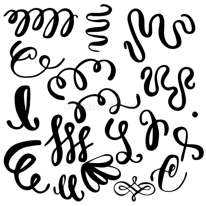 Grupo de elementos, de linhas e de ornamento da tração da mão da escova da caligrafia ilustração royalty free