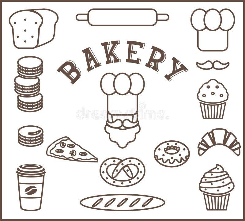 Grupo de elementos lisos da padaria isolados - pessoa do padeiro, chapéu do ` s do cozinheiro chefe, bigode, pão, baguette, naco, imagem de stock