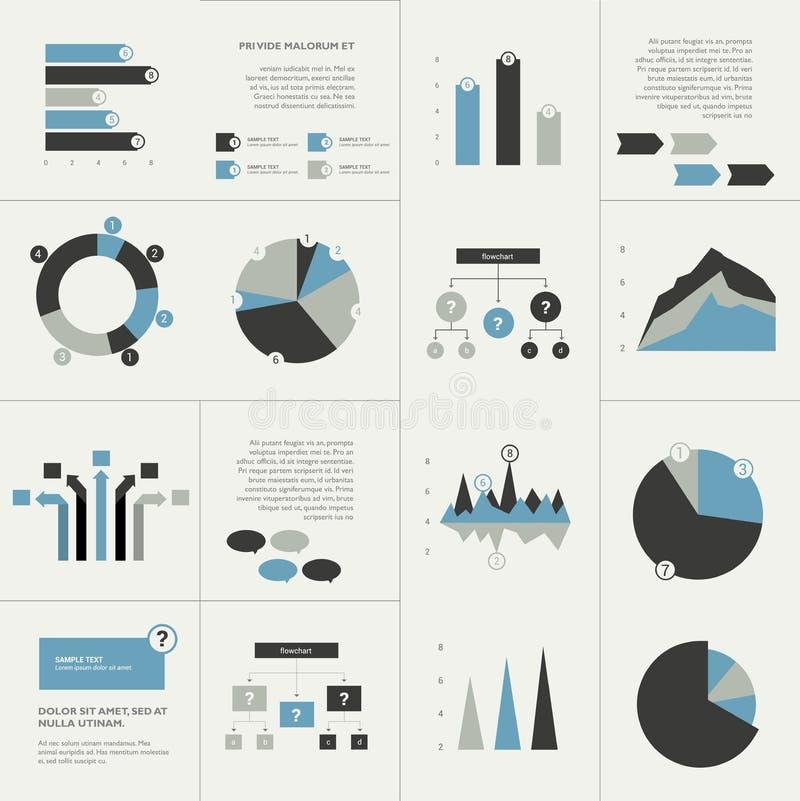 Grupo de elementos lisos do projeto do negócio, gráficos, cartas, fluxograma ilustração do vetor