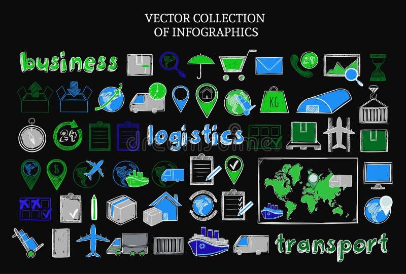 Grupo de elementos logístico colorido tirado mão ilustração royalty free
