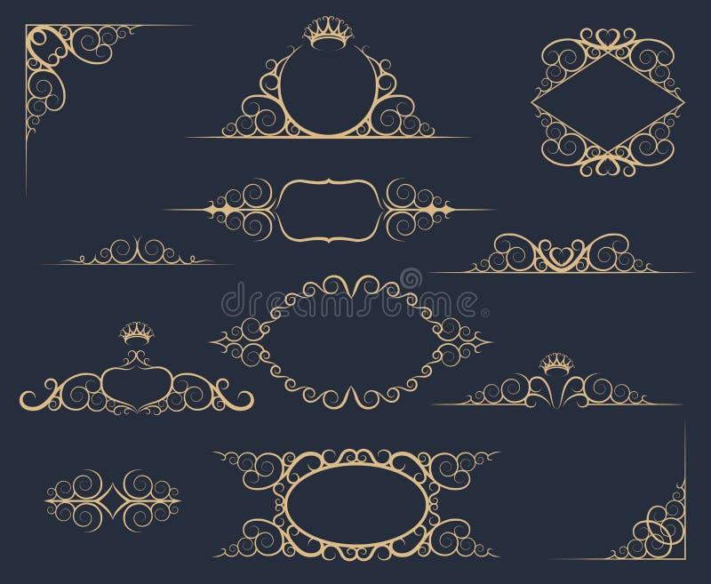 Grupo de elementos luxuoso da decoração ilustração royalty free