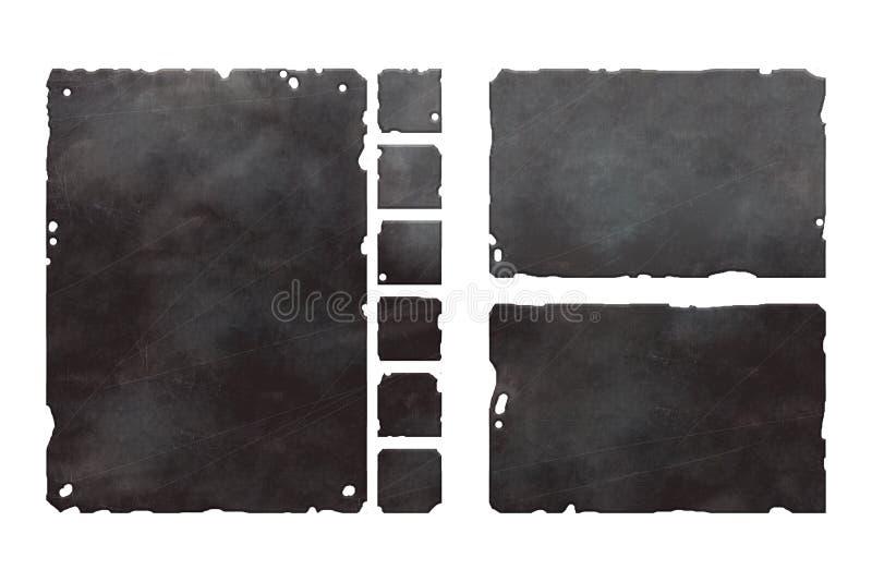 Grupo de elementos metálicos ilustração stock