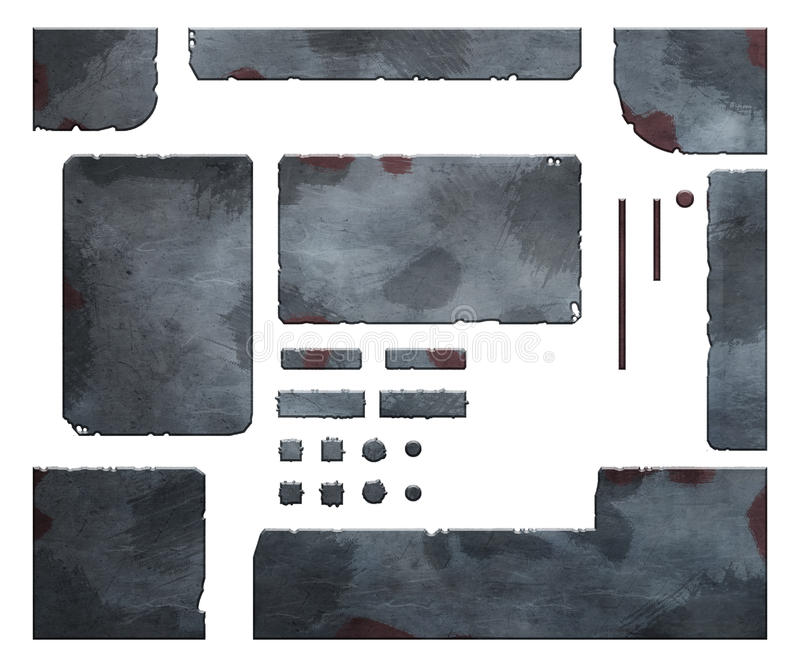 Grupo de elementos metálicos ilustração do vetor
