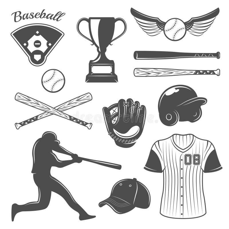 Grupo de elementos monocromático do basebol ilustração stock