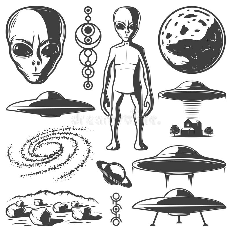 Grupo de elementos monocromático do UFO do vintage ilustração do vetor