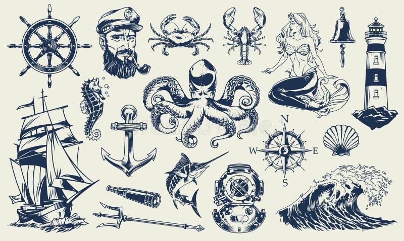 Grupo de elementos náutico monocromático do vintage ilustração do vetor