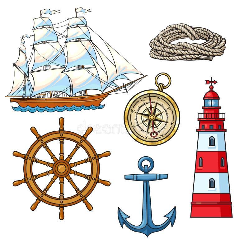 Grupo de elementos náuticos dos desenhos animados, ilustração do vetor ilustração royalty free