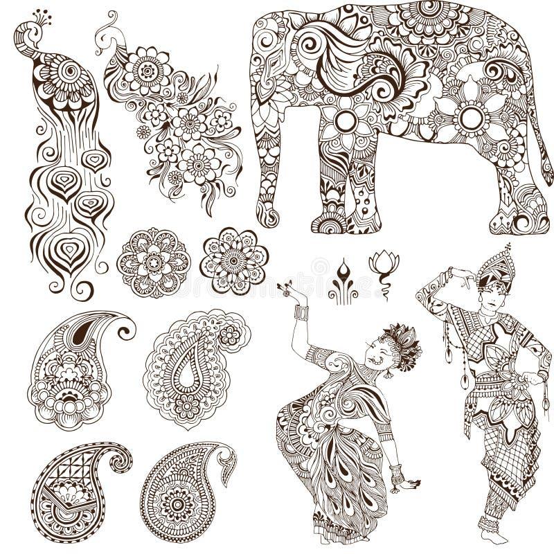 Grupo de elementos no estilo do mehendi ilustração do vetor
