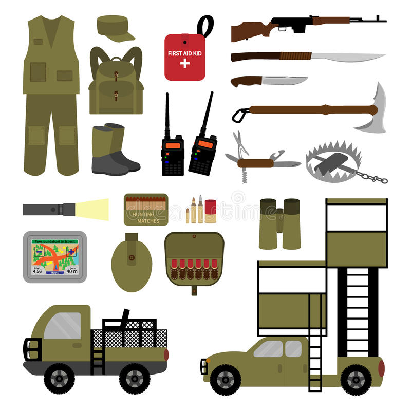 Grupo de elementos para caçar no estilo liso imagens de stock royalty free