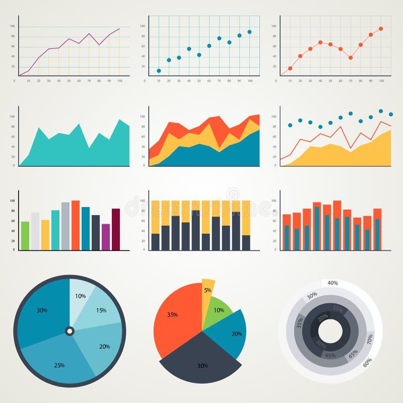 Grupo de elementos para o infographics, cartas, gráficos, diagramas Na cor Graphhics do vetor ilustração stock