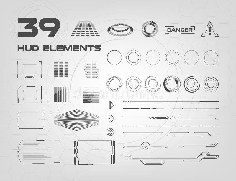 Grupo de elementos preto e branco de HUD UI para o negócio app Elementos de exposição da cabeça-acima para a Web e o app Usuário  ilustração do vetor