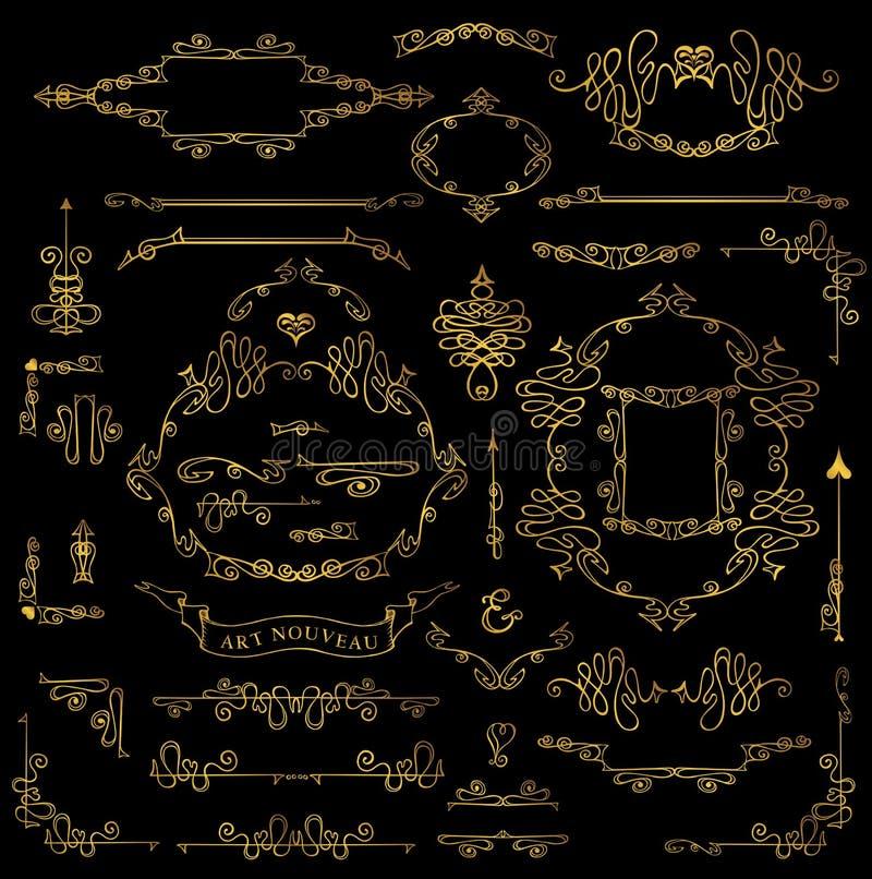 Grupo de elementos real caligráfico do projeto Quadros do ouro, beiras, Swi ilustração stock