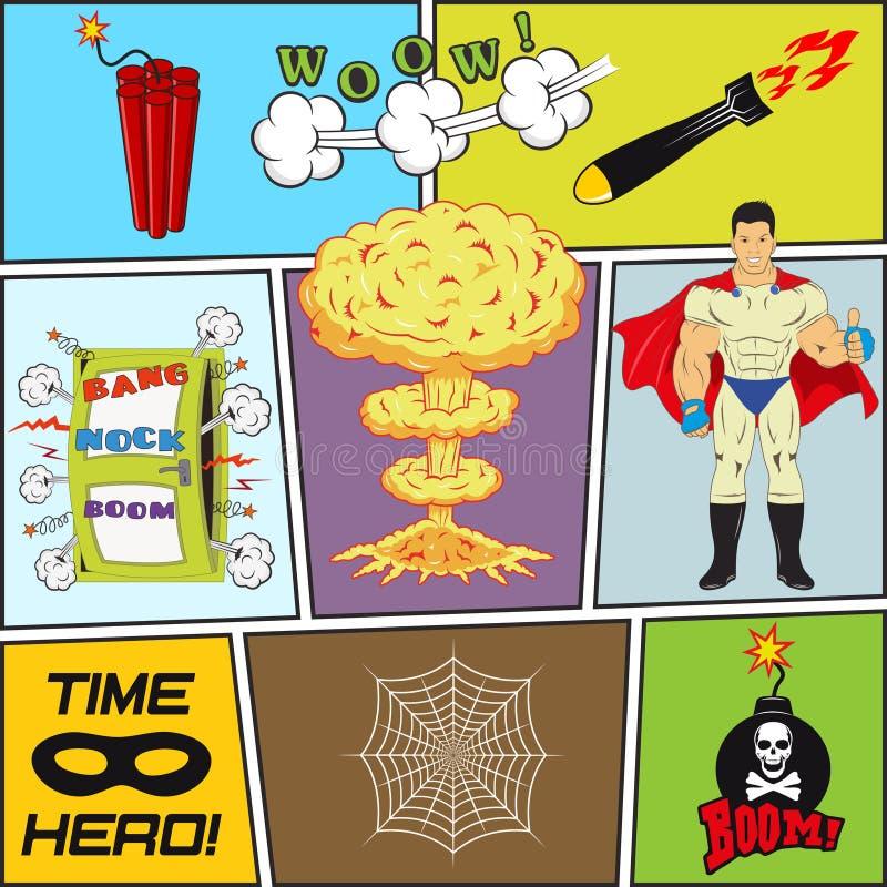 Grupo de elementos retros do projeto do vetor da banda desenhada ilustração royalty free