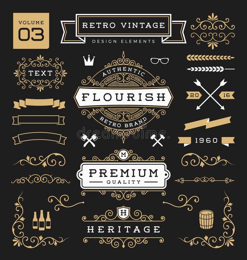 Grupo de elementos retros do projeto gráfico do vintage ilustração royalty free