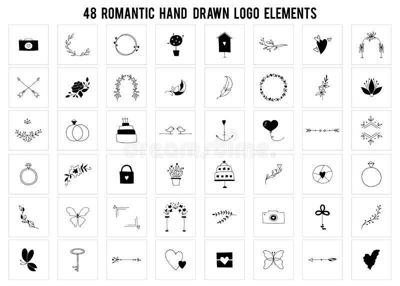 Grupo de elementos romântico do logotipo Objetos tirados mão do vetor ilustração royalty free