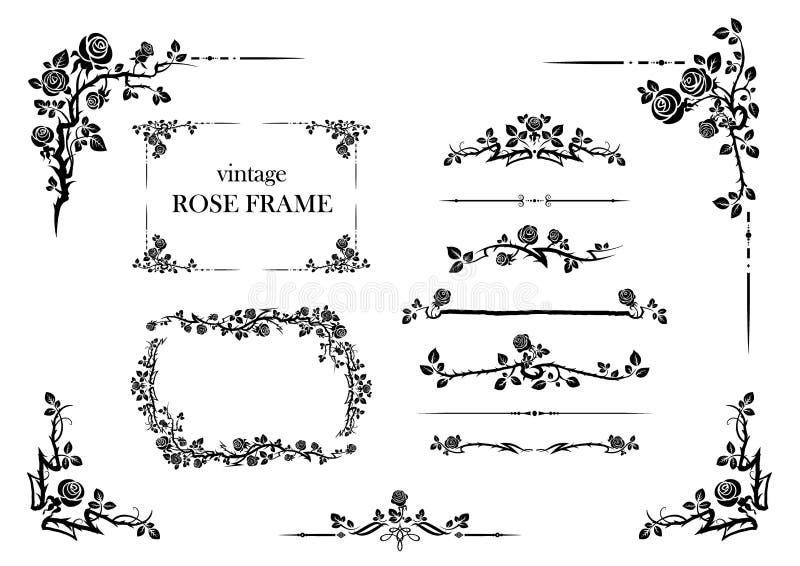Grupo de elementos de rosas ilustração royalty free