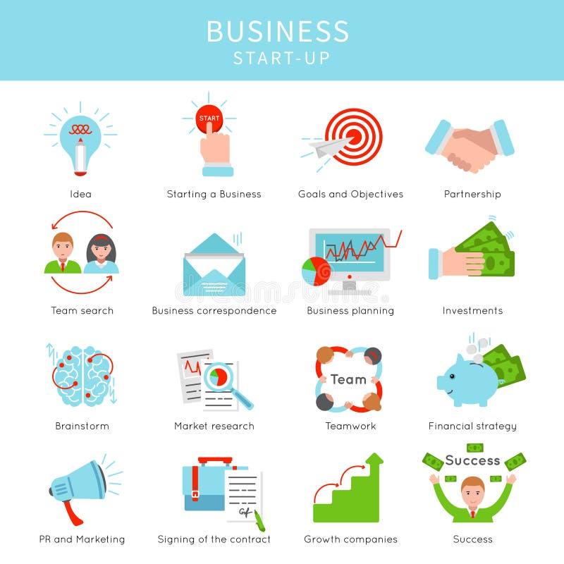 Grupo de elementos Startup do projeto liso do negócio ilustração stock