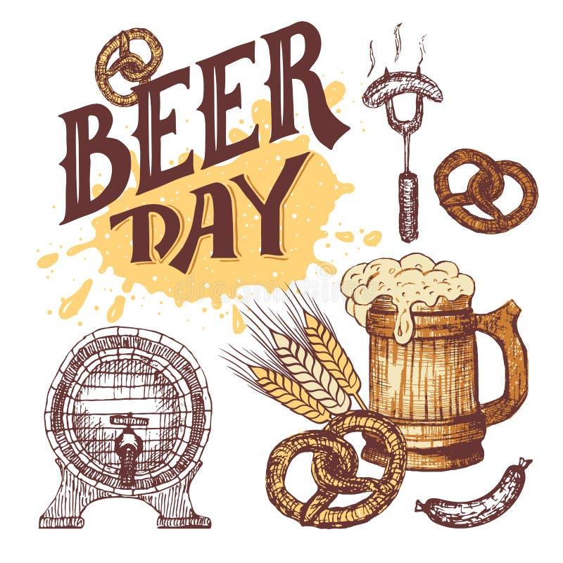 Grupo de elementos tirado mão do dia da cerveja no estilo do esboço ilustração do vetor