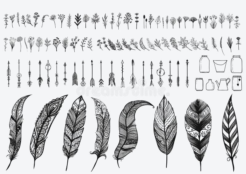 Grupo de elementos tirado mão do projeto do vintage que inclui flores, setas, frascos e penas do zentangle ilustração royalty free