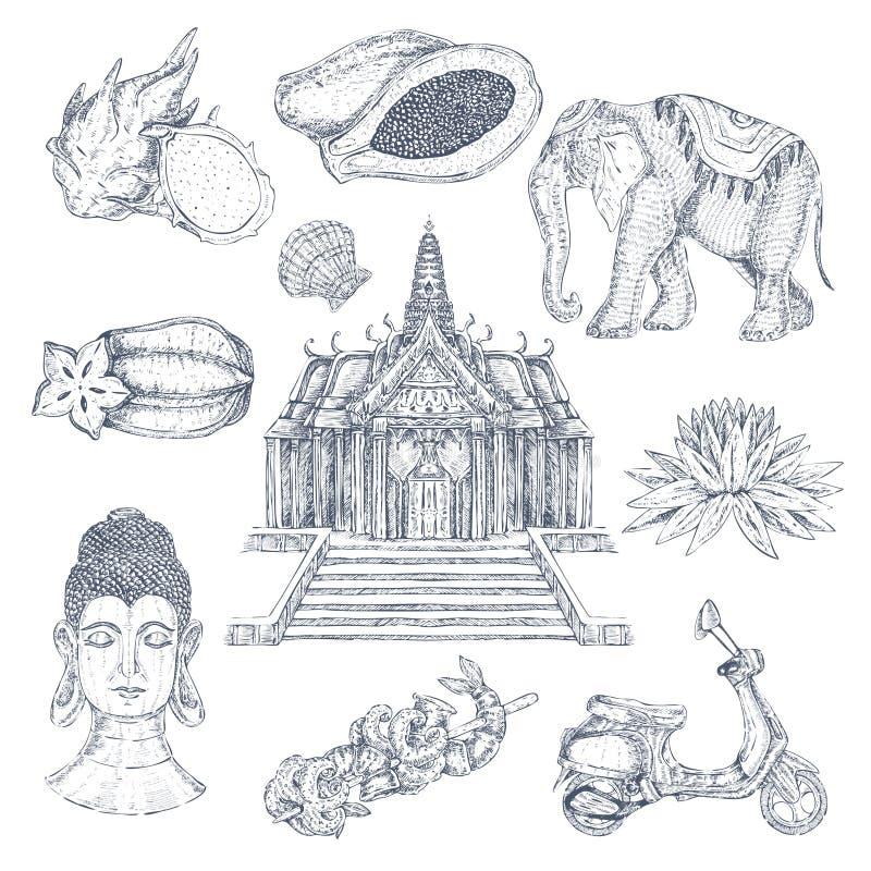 Grupo de elementos tirado tailandês ilustração stock