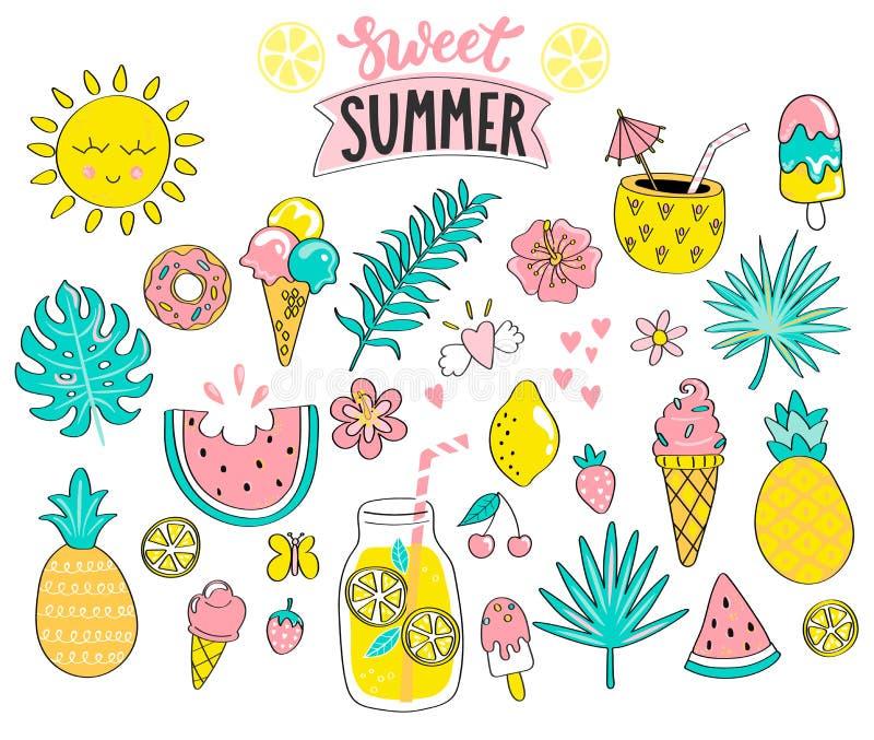 Grupo de elementos tirados do verão mão doce ilustração stock