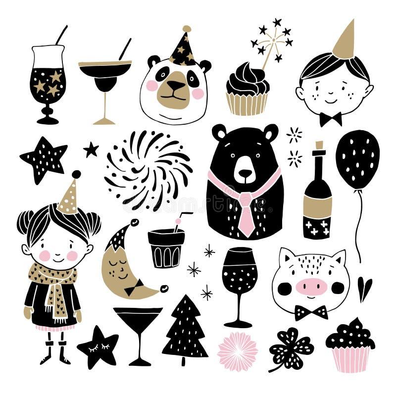 Grupo de elementos tirados mão do gráfico do ano novo ou do aniversário As crianças com chapéus do partido, ursos bonitos, fogos- ilustração stock