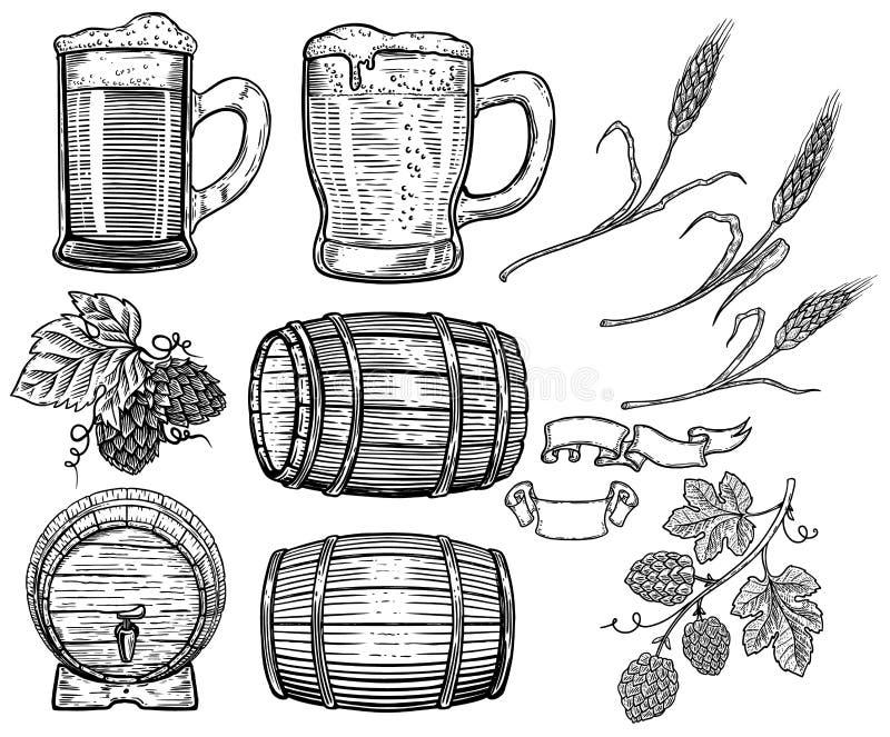 Grupo de elementos tirados mão do projeto da cerveja Lúpulo, trigo, tambores de madeira, canecas de cerveja Projete o elemento pa ilustração do vetor