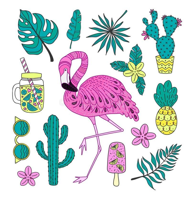 Grupo de elementos tropicais tirados mão com flamingo, folhas exóticas do vetor fotos de stock
