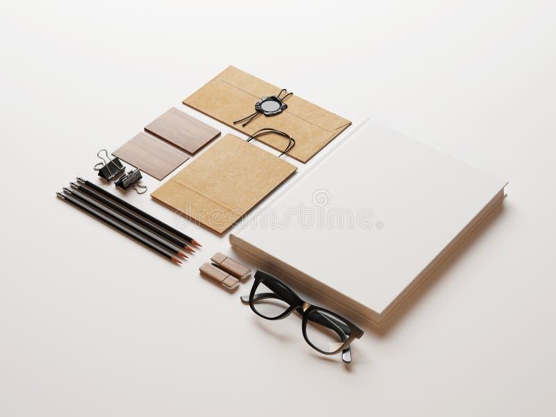Grupo de elementos vazios no fundo do Livro Branco fotos de stock