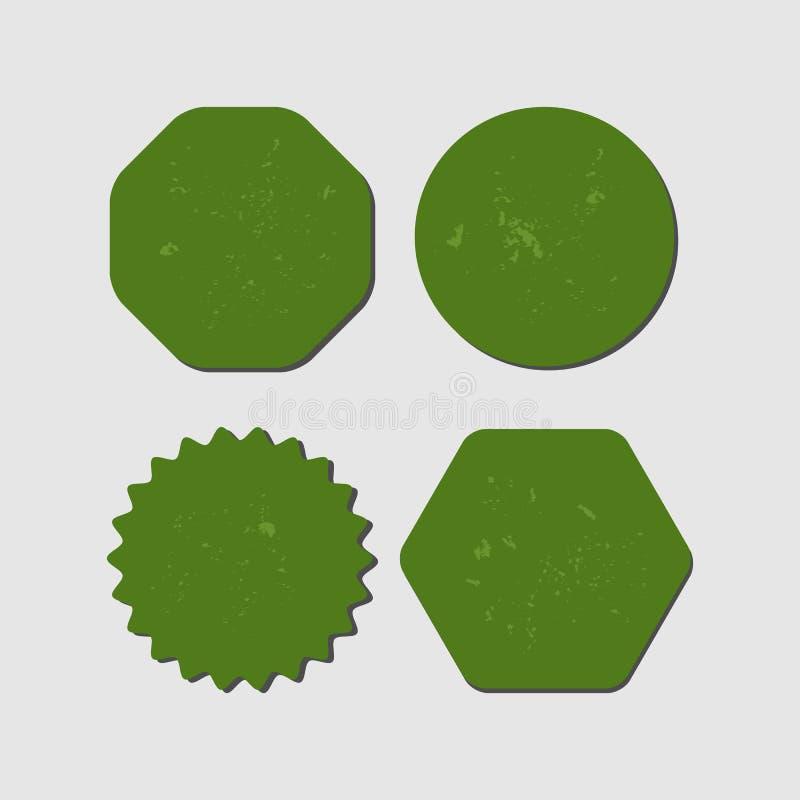 Grupo de elementos verdes do grunge com sombra Etiqueta vazia, fundo, quadro, etiqueta ilustração royalty free