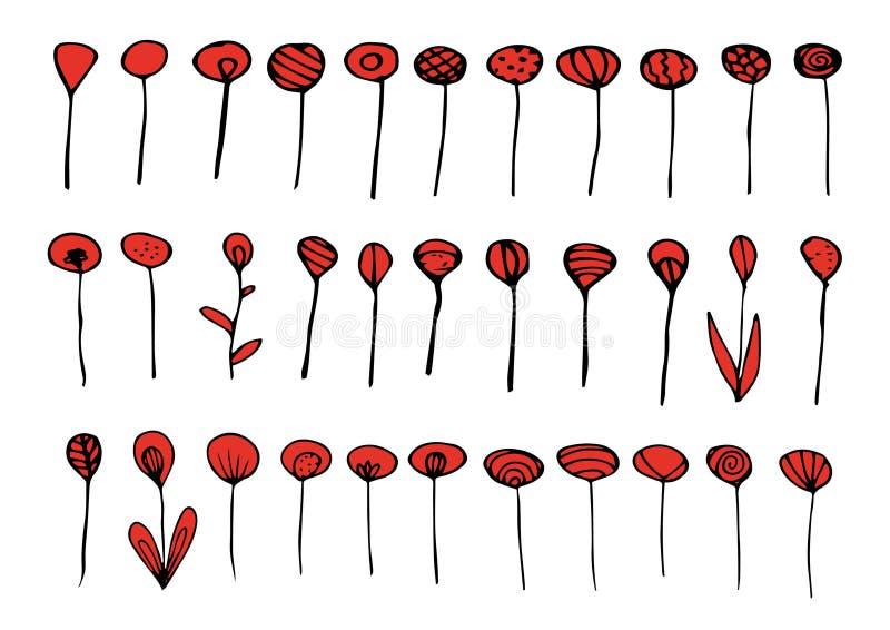 Grupo de elementos vermelhos e pretos ilustração stock