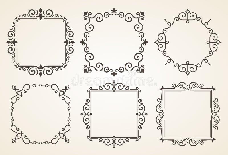 Grupo de elementos vitorianos e de quadros das decorações do vintage Ornamento e quadros caligráficos dos Flourishes Frame retro ilustração do vetor