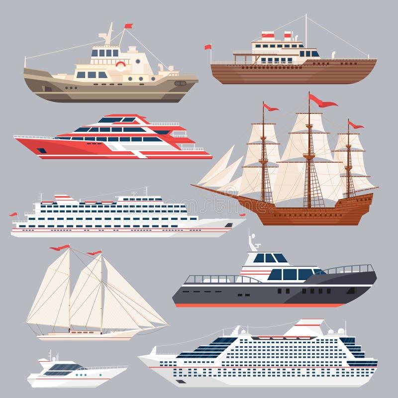 Grupo de embarcações diferentes Barcos de mar e outros navios grandes Ilustrações do vetor no estilo liso ilustração stock