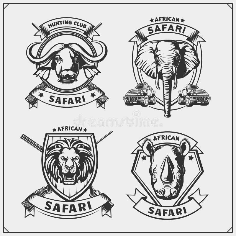 Grupo de emblemas africanos dos animais Leão, elefante, rinoceronte e búfalo ilustração stock