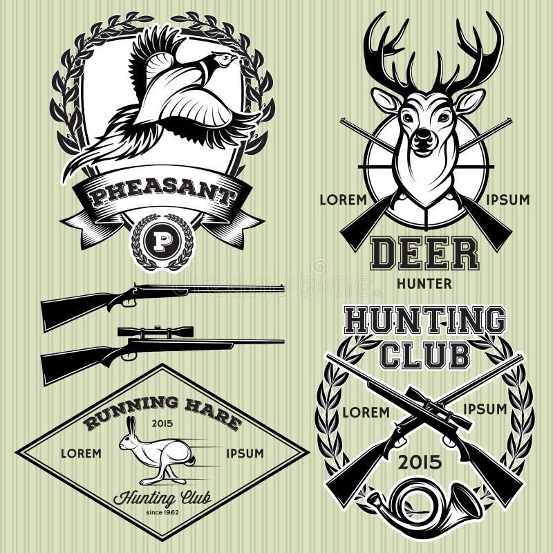 Grupo de emblemas com um cervo, lebre, faisão para caçar ilustração royalty free