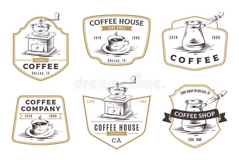 Grupo de emblemas, de crachás e de logotipo da cafetaria isolados nos vagabundos brancos ilustração royalty free