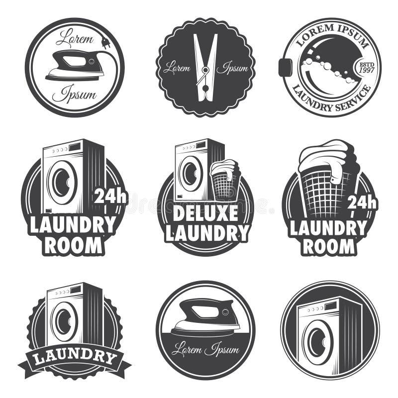 Grupo de emblemas da lavanderia do vintage ilustração royalty free