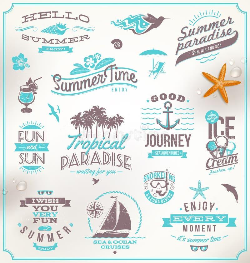 Grupo de emblemas do curso e das férias ilustração royalty free