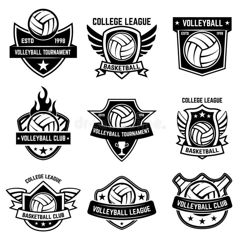 Grupo de emblemas do esporte do voleibol Projete o elemento para o cartaz, logotipo, etiqueta, emblema, sinal, camisa de t ilustração do vetor