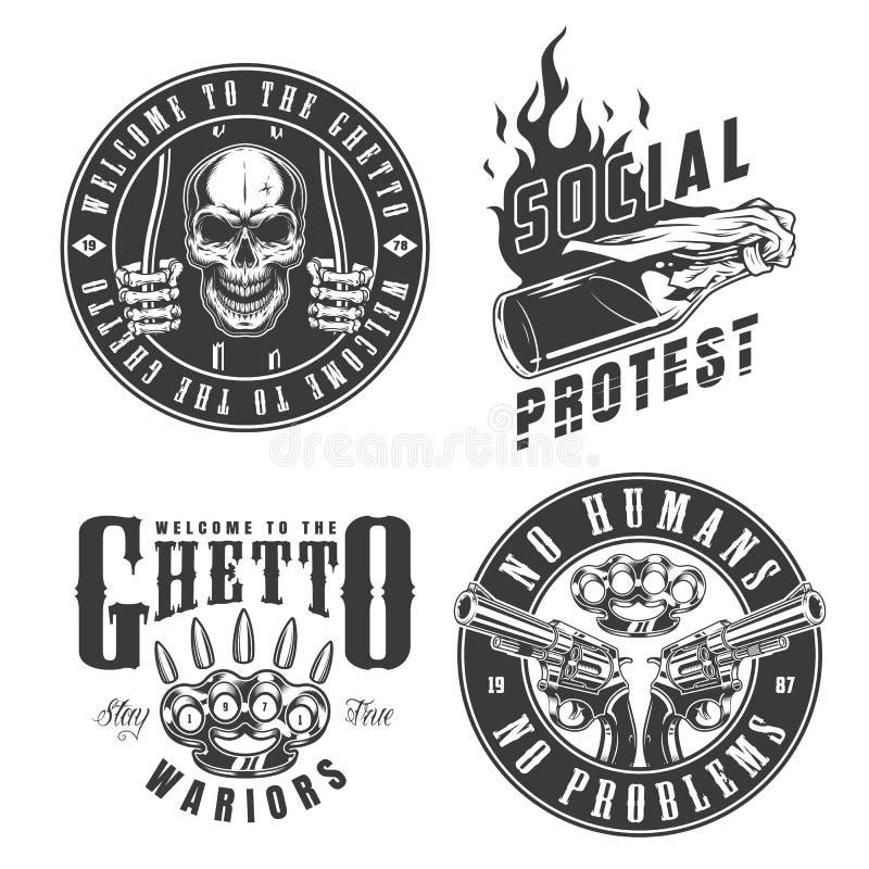 Grupo de emblemas do gângster ilustração do vetor