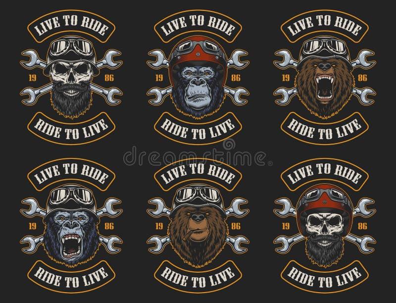 Grupo de emblemas do motociclista ilustração do vetor