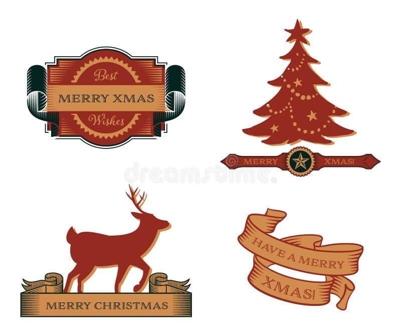 Grupo de emblemas do Natal do vintage ilustração royalty free