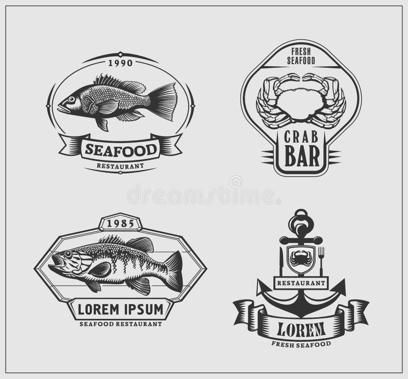 Grupo de emblemas do restaurante do marisco ilustração stock
