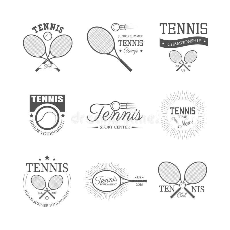 Grupo de emblemas do tênis ilustração stock