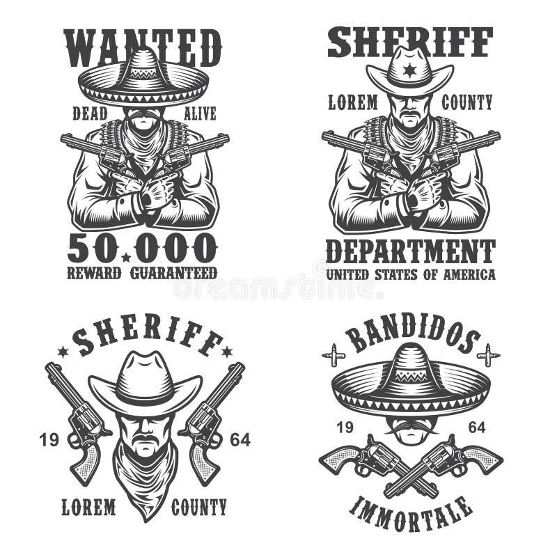 Grupo de emblemas do xerife e do bandido ilustração do vetor