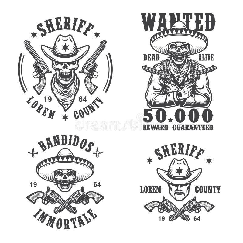 Grupo de emblemas do xerife e do bandido ilustração royalty free